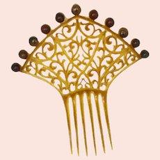 Mantilla Celluloid Brown Butterscotch Comb