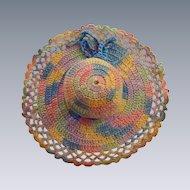 Multicolored Crochet Sun Bonnet Pin Cushion