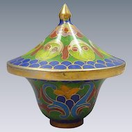 Cloisonné Miniature Blue Trinket Keepsake Pot