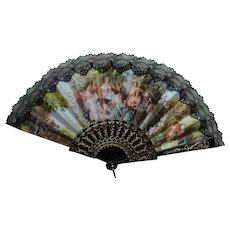 Dark Brown Hand Fan with Black Lace and Romantic Scene