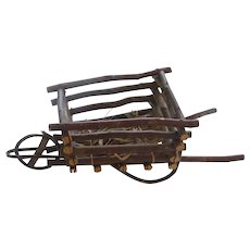 Primitive Wood Decorative Small Wheelbarrow Cart