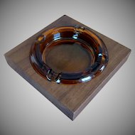 Large Glass Ashtray in Square Wooden Walnut Holder