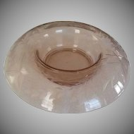 Pink Deep Etched  Depression Glass Console Bowl