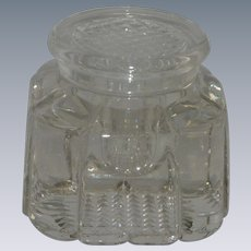 Heavy Glass Crystal Inkwell with Cover/ Desk Accessory