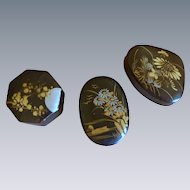 3 Black with Gold Tone Paper Mache Vintage Asian Trinket Boxes