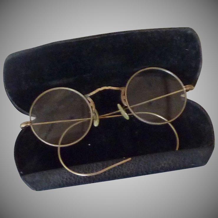2cde332c548 10k Gold Filled Round Wire Eyeglasses With Case Rare Finds Ruby Lane