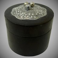 Small Round Wood Box with Silver Tone Piece on Top