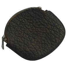 Vintage 1930's Leather Coin Purse with Zipper