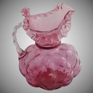 Fenton Ruby Diamond Optic Beaded Melon Pitcher