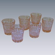 Set of 6 Pink Shot Glasses One Ounce 1950's
