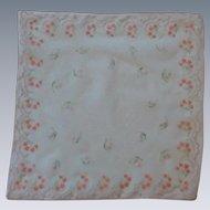Pink Sheer Flower Handkerchief Hankie Hanky