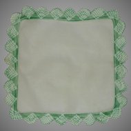 White Linen Handkerchief with Large Green Crochet Border