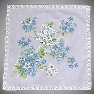 Blue & White Forget Me Knots Flower Handkerchief