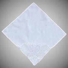 Gorgeous White Heart on White Handkerchief