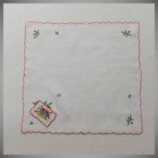 Christmas Card on White Handkerchief