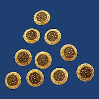 10 Big Gold Tone Maroon Bead Buttons
