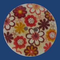 Flower Power Plastic Button 1970's