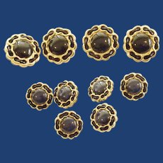 Black with Gold Tone Trim Buttons