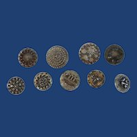 Nine 1920's Vintage Metal Small Buttons