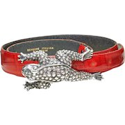 Vintage Kieselstein-Cord Sterling Silver LARGE Frog Toad Buckle & Vicenza belt