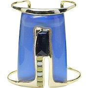 Alexis Bittar modernist Gold plate Glass HUGE Cuff bangle bracelet Blue