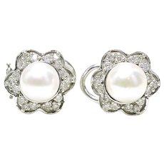 Estate 14k White Gold 1.05 Carat Diamond & Pearl ladies Cocktail Button Earrings