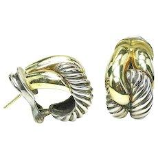 Estate DAVID YURMAN 14k Yellow Gold Sterling Silver CORDELIA Cable Earrings W/BAG