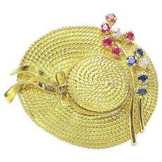 Vintage 18k Yellow Gold Ruby sapphire Diamond ladies Bonnet/Hat Pin Brooch Italy