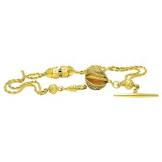 Victorian 18k Gold Plated/filled enamel Watch Fob Chain W/ Fobs & Charms ca1880