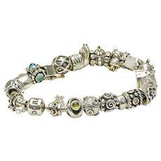Estate Sterling Silver & 14k Gold PANDORA Bracelet w/ 26 Charms & Spacers