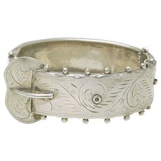 Antique Engraved Sterling Silver Wide Ladies BUCKLE BRACELET Circa 1900
