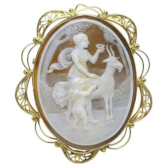 Antique 14k yellow Gold Carved Shell Cameo - CUPID, GOAT, WOMAN, RARE 1920's