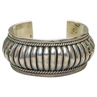 Designer PA Priscilla Apache Sterling Silver wide Cuff bangle Bracelet 79.3 grams