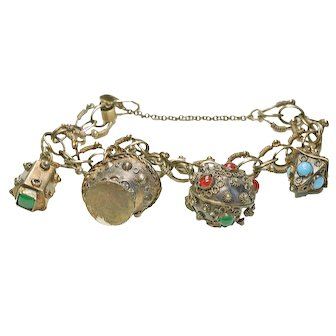 Antique 800 Gold Washed 4 Charm Etruscan Wire Work Charm Bracelet circa1900