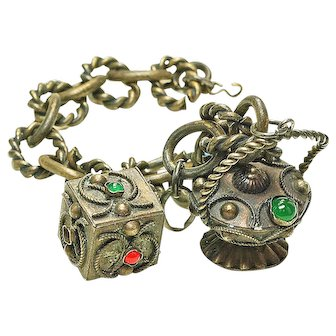 Antique  Silver 2 Charm Etruscan Wire Work Charm Bracelet c.1885