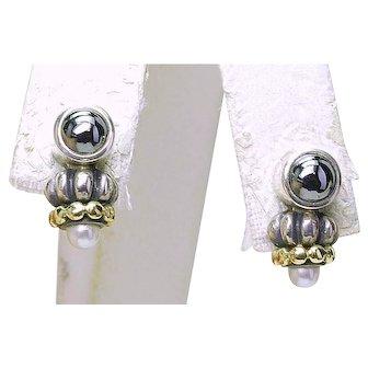 Estate LAGOS CAVIAR Sterling Silver 18k Hematite Pearl Ladies Earrings in pouch