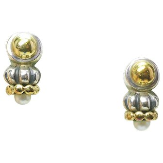 Estate LAGOS CAVIAR Sterling Silver 18k Gold & Pearl Ladies Earrings in pouch