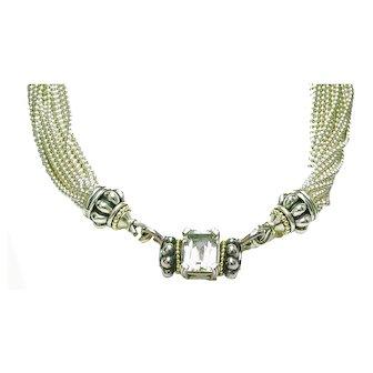 Estate LAGOS CAVIAR Sterling Silver 18k Gold TORSADE Necklace W/ 2 Pendants
