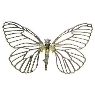 Estate Authentic Lagos Caviar large size 18k gold and Sterling Butterfly pin brooch