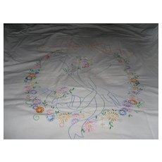 1930's - 1940's Handmade Embroidery Twin Bedspread