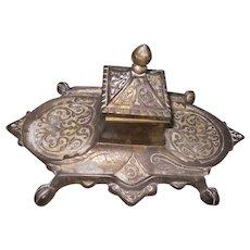 Vintage Victorian Style Brass Ink Well