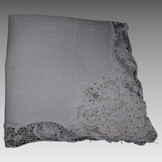 1940's  Linen and Lace with Seed Pearls Wedding Hanky