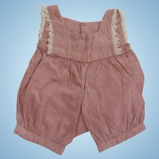 1930  Dusty Rose and White Lace   Small Doll Rompers