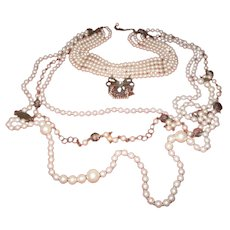 1920's  Faux Pearl Choker and Chain Necklace
