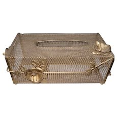 Mid-Century Gold Mesh Tissue Holder