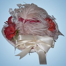 1972 Hand Made Red And White SILK Doll's Hat