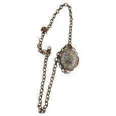 Vintage Miriam Haskell Cameo Locket Pendant Necklace