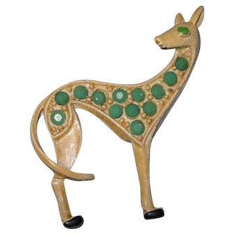 1960's Cute Enamel and Rhinestone  Giraffe Brooch