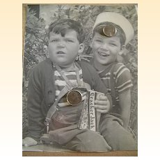 Advertising Photograph / Portrait.. Boys Holding CRACKER JAX Box..1940's..Excellent Condition