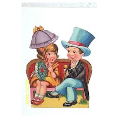 Valentine Couple..Boy In Top Hat / Girl With Parasol..Germany..Antique Paper Scrapes..Ephemera..